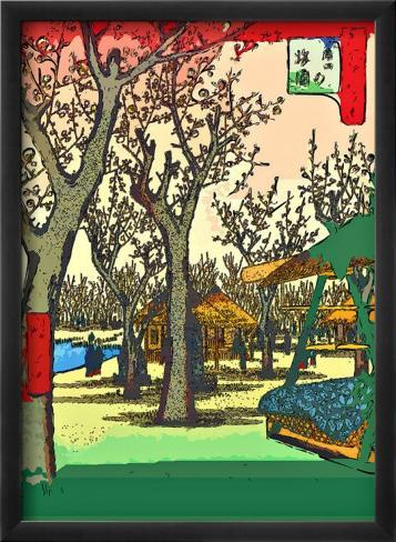 Plum Garden at Kamata Stampa giclée con cornice