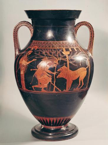 Attic Red-Figure Belly Amphora of Herakles Capturing Kerberus, Greek, from Athens, 6th Century B Giclee Print