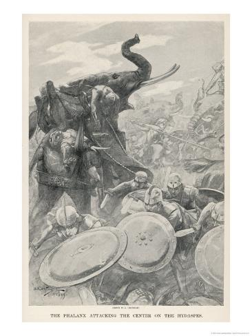 The Troops of Alexander the Great Meet the Elephants of Porus on the Hydaspes Giclee Print