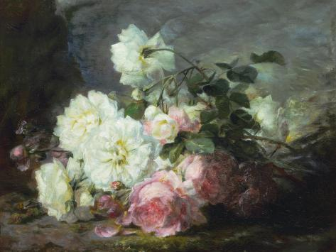 Pink and White Roses Giclee Print