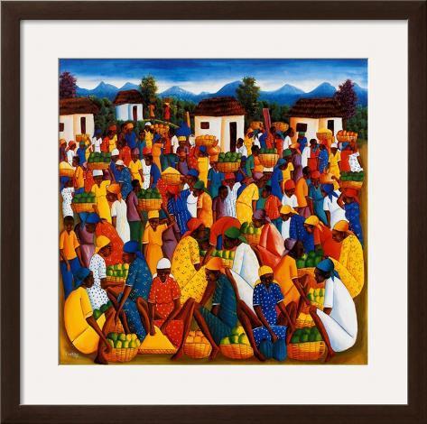 Arte do Haiti Impressão artística emoldurada