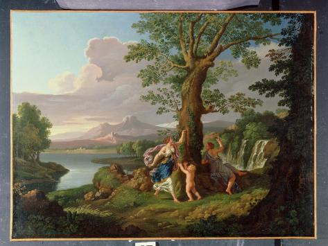 River Landscape with a Nymph Plucking a Branch from a Bleeding Tree Giclee Print