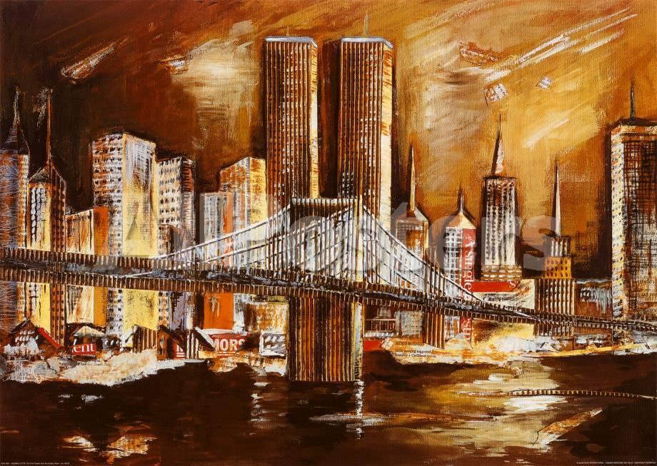 Torres gemelas desde el río Hudson Pósters por Andrea Lotte en ...