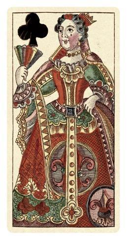 Queen of Clubs (Bauern Hochzeit Deck) Art Print