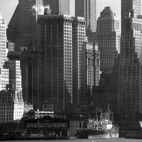 Panoramic View of Buildings in Lower Manhattan Taken from the New Jersey Banks of the Hudson River Photographic Print