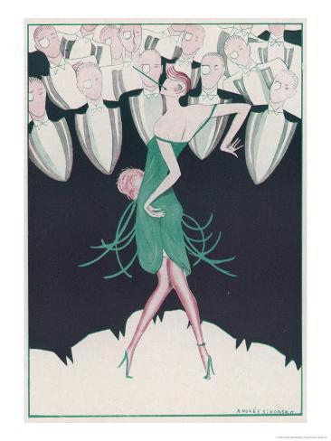Flapper in a Green Dress Dances in Front of a Group of Men in Evening Dress Giclee Print