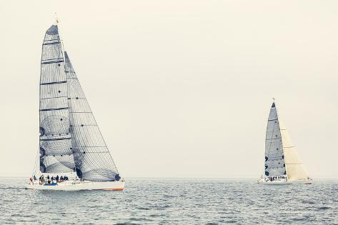 Sailing Ship Yachts with White Sails Photographic Print