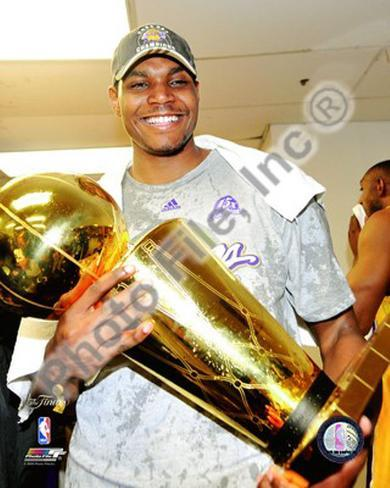 Andrew Bynum Game Five of the 2009 NBA Finals With Championship Trophy Framed Photographic Print