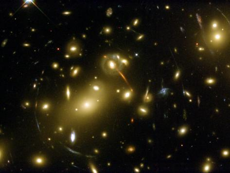 Cluster of Galaxies, Abell 2218, in Constellation Draco from Hubble Space Telescope Photographic Print