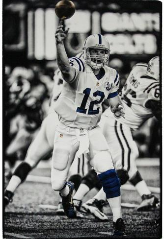 Andrew luck indianapolis colts throwing black photo signed by ph
