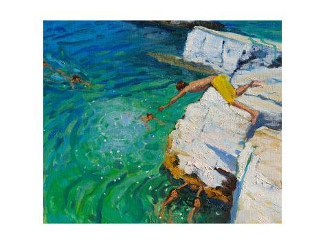 Detail of Jumping into the Sea, Plates, Skiathos, 2015 Giclee Print