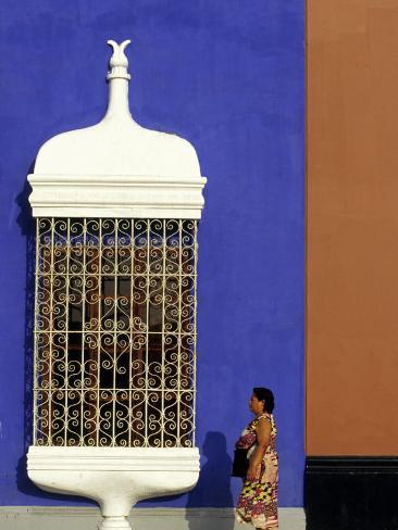 Passes Iron Grillwork and Pastel Shades of Colonial Mansion, Plaza De Armas in Trujillo, Peru Photographic Print