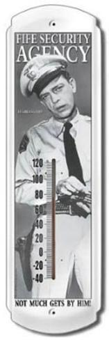 Andy Griffith Barney Fife Security Indoor/Outdoor Thermometer Tin Sign