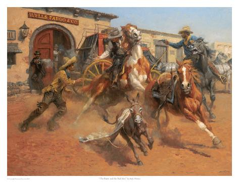 The Burro And The Bad Men Art Print