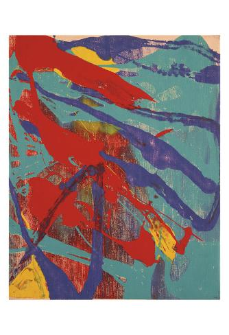 Abstract Painting, c. 1982 (Aqua, Red, Indigo, Yellow) Stampa artistica