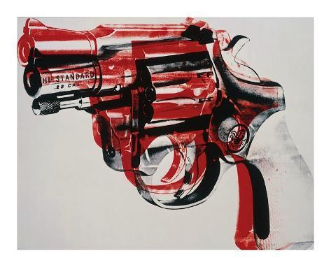 Arma, cerca de 1981-82 (preto e vermelho sobre branco) Impressão giclée emoldurada