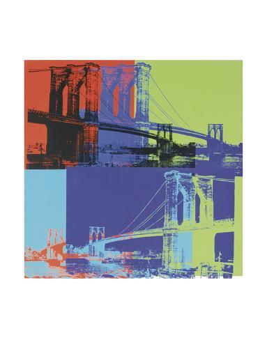 Brooklyn Bridge, ca 1983 (orange, blå, lime) Konstprint