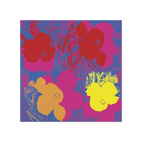 Flowers, c.1970 (Red, Yellow, Orange on Blue) Gicléetryck
