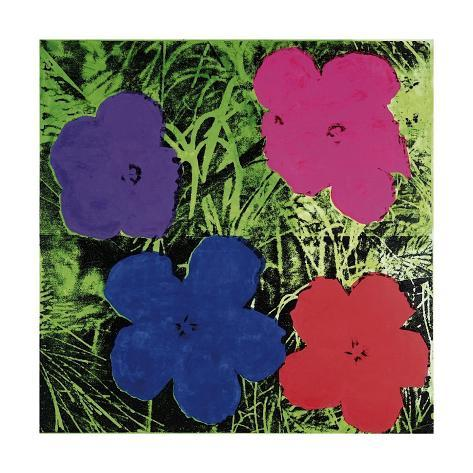 Flowers (Purple, Blue, Pink, Red) Giclee Print