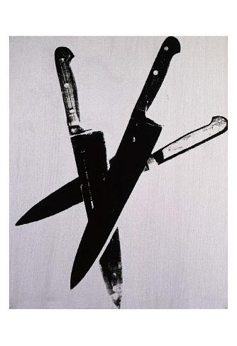 Knives, c.1981-82 (three black on cream) Art Print