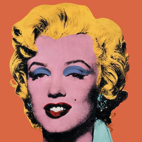 Marilyn Monroe su sfondo arancione, 1964 Stampa artistica