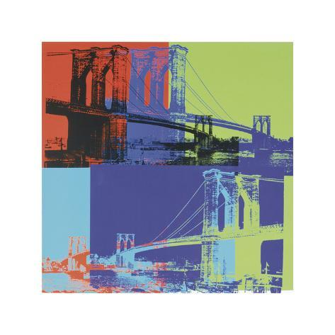 Ponte di Brooklyn, 1983 circa (arancio, blu, giallo limone) Stampa giclée