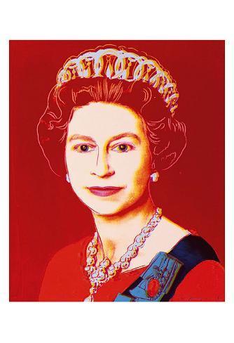 Reigning Queens: Queen Elizabeth II of the United Kingdom, c.1985 (Light Outline) Art Print