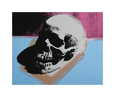 Skull, c.1976 (White on Blue and Pink) Lámina giclée