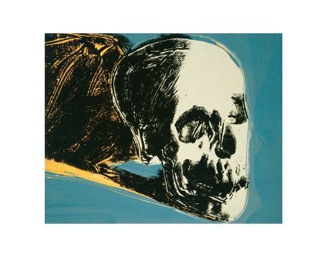 Skull yellow on teal stampe di andy warhol su for Ricerca su andy warhol
