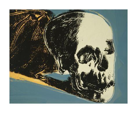 Skull, c.1976 (yellow on teal) Framed Art Print