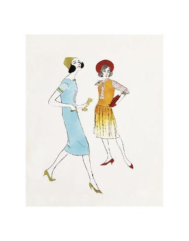 Two Female Fashion Figures, c. 1960 Art Print