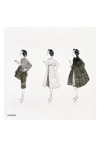 Untitled (Three Female Fashion Figures), c. 1959 Art Print