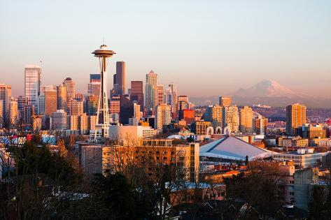 Seattle at Sunset Photographic Print