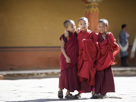 Buddhist Monks, Paro Dzong, Paro, Bhutan Photographic Print