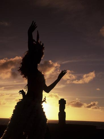 Polynesian Dancer, Ahu Tahai, Easter Island Photographic Print