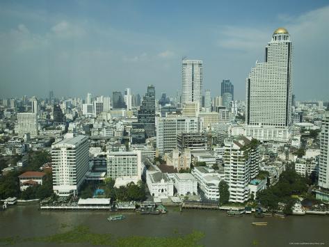 Silom District and Chao Praya River, Bangkok, Thailand Photographic Print