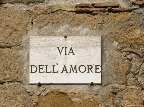 Street Sign, Pienza, Val d'Orcia, Tuscany, Italy, Europe Photographic Print