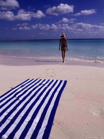 Woman on Tropical Beach, Cayo Largo Photographic Print