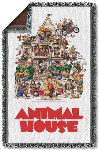 Animal House - Poster Woven Throw Throw Blanket