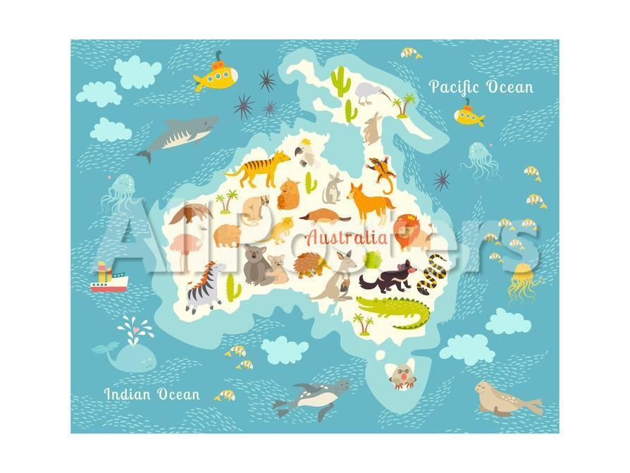 Animals World Map, Australia. Australian Animals Poster. Australia ...