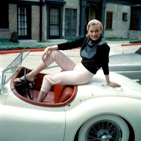 Anita Ekberg, on Her Jaguar, Late 1950s Photo