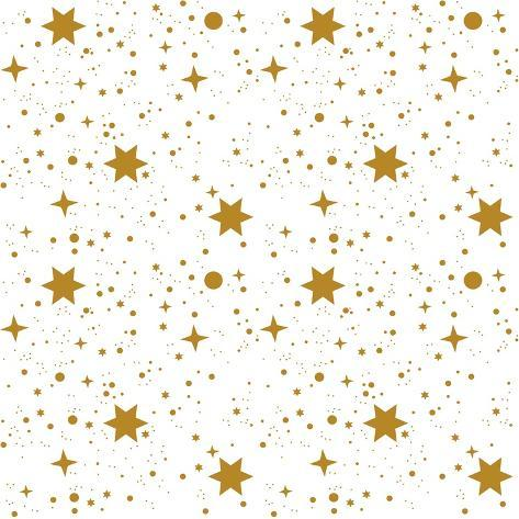 Star, Pattern, White, Background, Gold, Gift Wrap Art Print