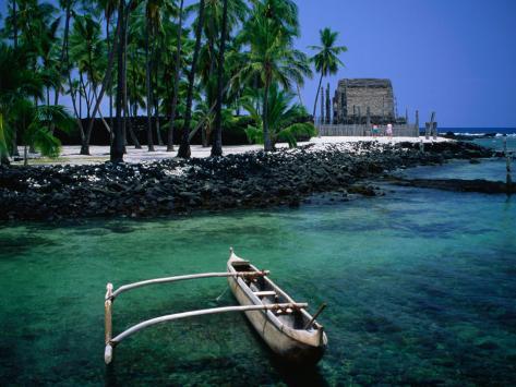 An Outrigger Canoe on the South Kona Coast, Puuhonua O Honaunau National Park, Hawaii, USA Photographic Print
