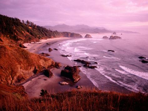 Overhead of Coastline, Cannon Beach, Evening, Ecola State Park, U.S.A. Photographic Print