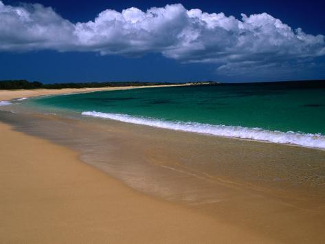 Popohaku Beach is the Longest Beach on Molokai's West End, Molokai, Hawaii, USA Photographic Print