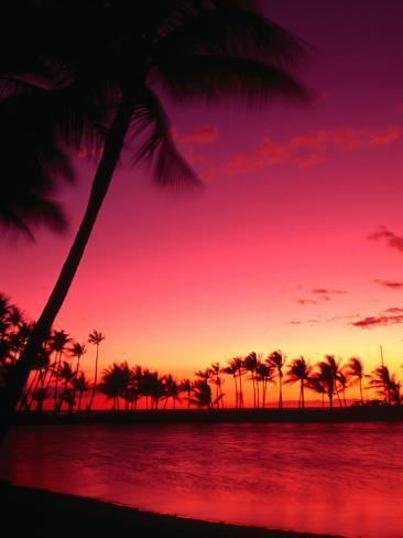 Sunset at Anaehoomalu on the Kohala Coast, Waikoloa, Hawaii (Big Island), Hawaii, USA Photographic Print