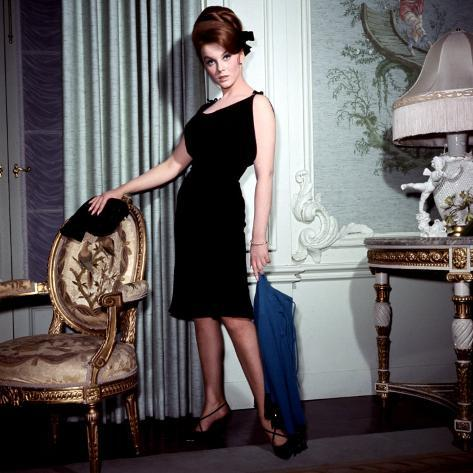 Ann-Margret, in French Drawing Room, Posing in Black Dress, 1960s Photo