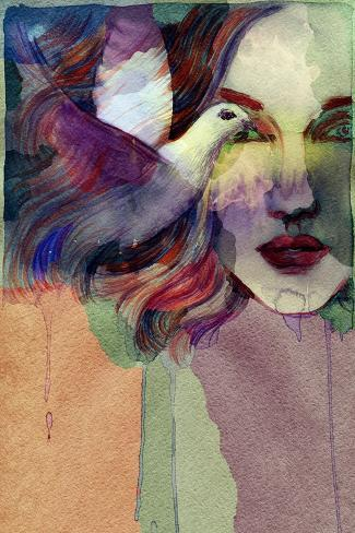 Woman Face and Pigeon. Hand Painted Fashion Illustration Art Print