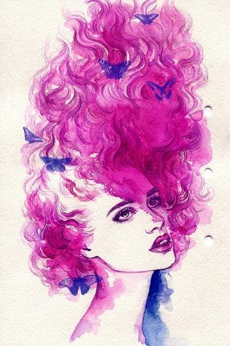 Woman Face. Hand Painted Fashion Illustration Art Print