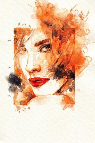 Woman Face. Hand Painted Fashion Illustration Art Print